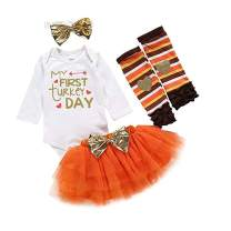 Baby Girl Thanksgiving Outfit My 1st Turkey Day Romper+Tutu Skirt+Leg Warmers+Headband Clothes Set