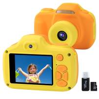 Kids Camera for Boys Girls Gifts with 16GB TF Card, 12MP Selfie 1080P HD Digital Video Camcorder Camera for Children Age 3-12 Shockproof Soft Silicone Mini Child Cameras with Flash (Yellow)