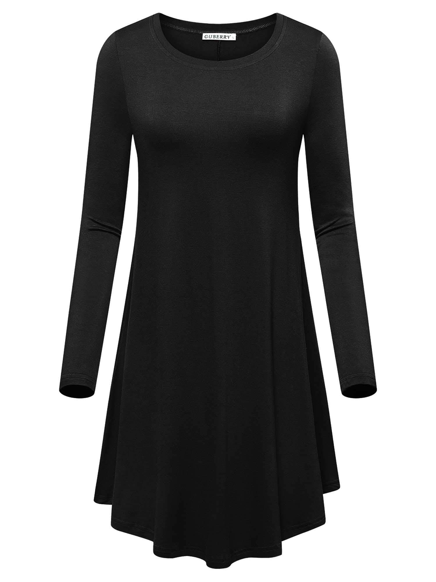 GUBERRY T-Shirt Dresses for Women Black Swing Fall Long Sleeve Casual Midi Dress(Black,XL)