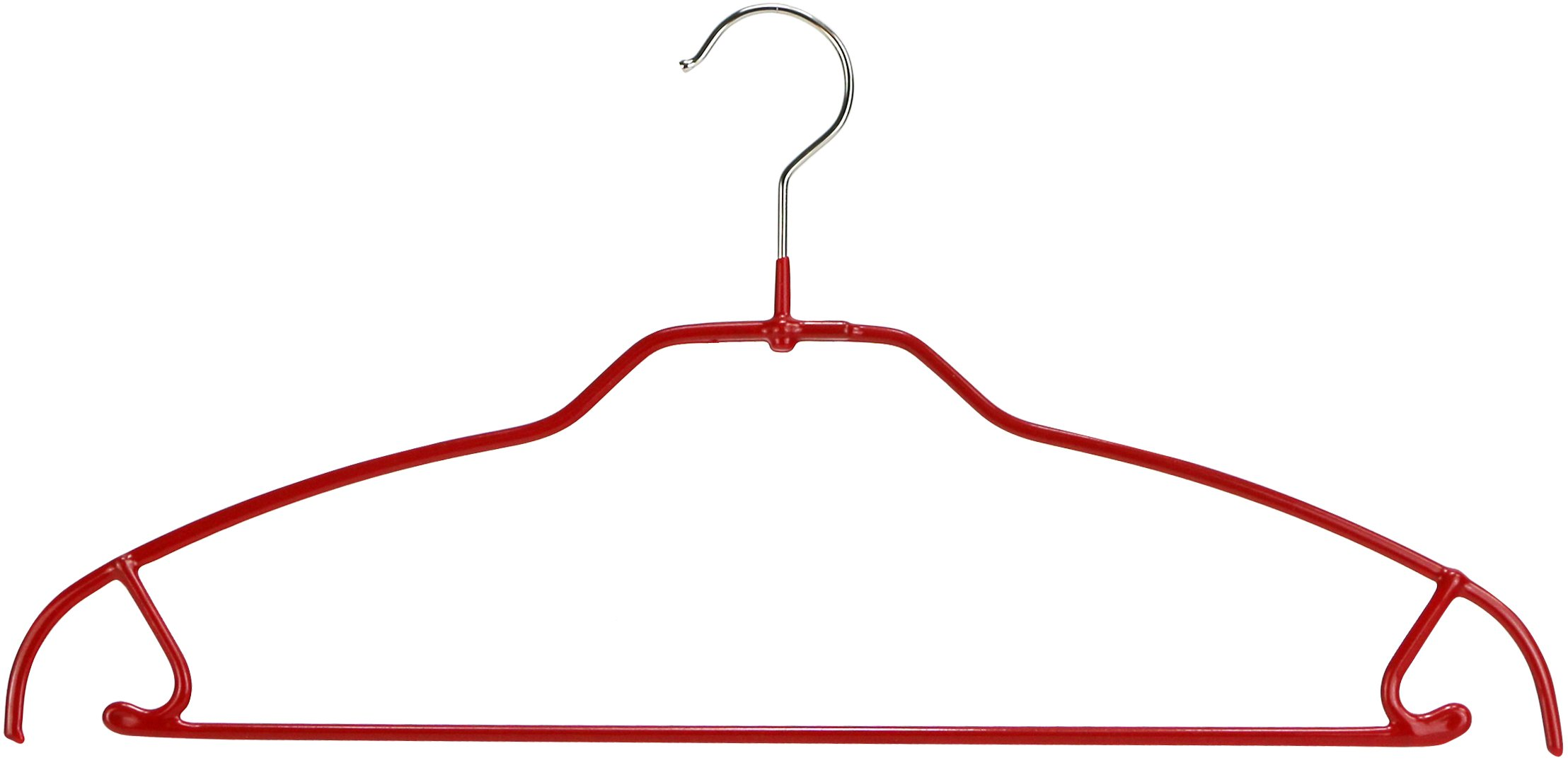 MAWA Space Saving Clothes Hanger with Bar and Hooks Style 42/FTU for Pants and Skirts, Pack of 10, Red, 10 Pack