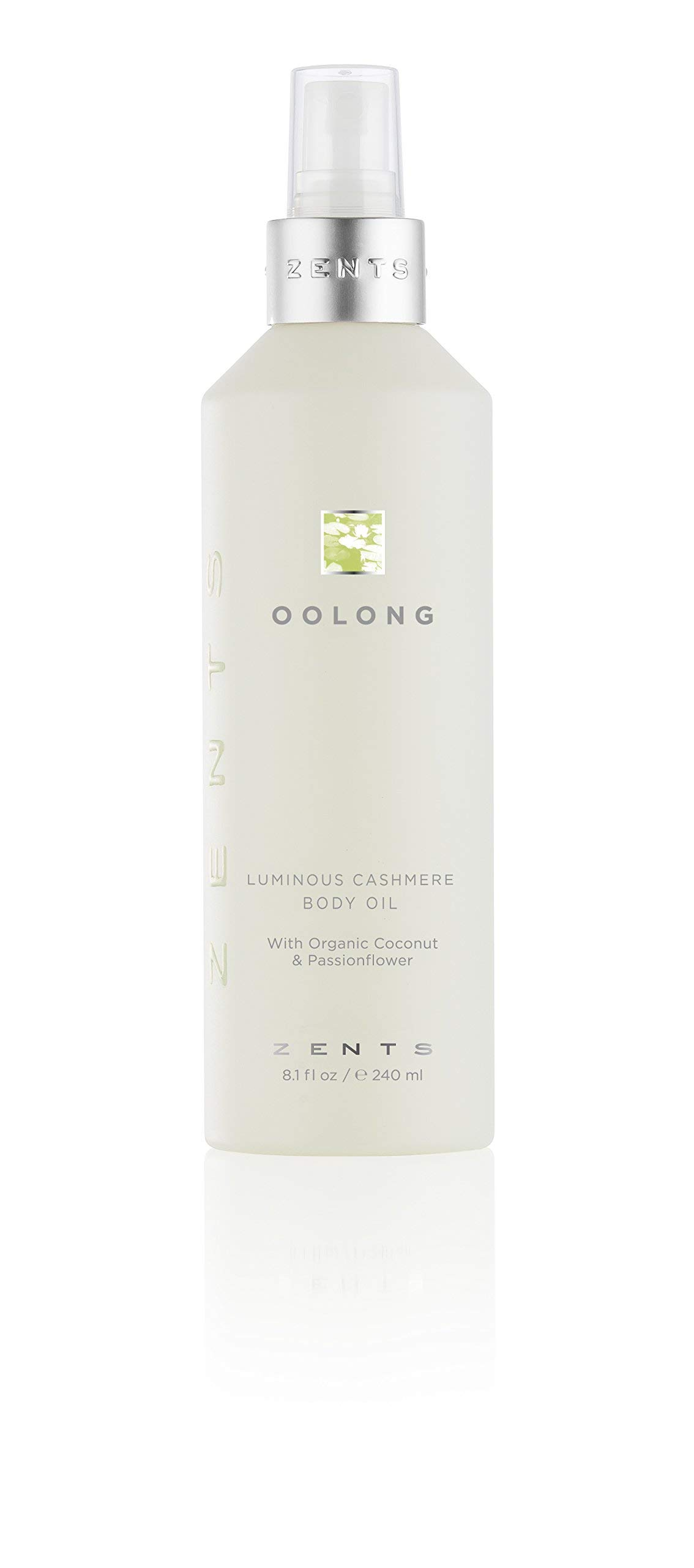 Zents Luminous Cashmere Body Oil, Soften and Moisturize Skin with Vitamin E and Organic Coconut Oil, 8 fl oz / 240 ml (Oolong)