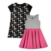 Mightly Kids Clothing - I Love Rock N Roll Girls Dress, Organic Cotton, 2T, Pack of 2 Pink,Black