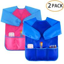 Zkptops 2 Pack Kids Art Smock Colorful Waterproof Children Art Aprons Artist Painting Aprons with Long Sleeve 3 Roomy Pockets for Age 3-8 Years