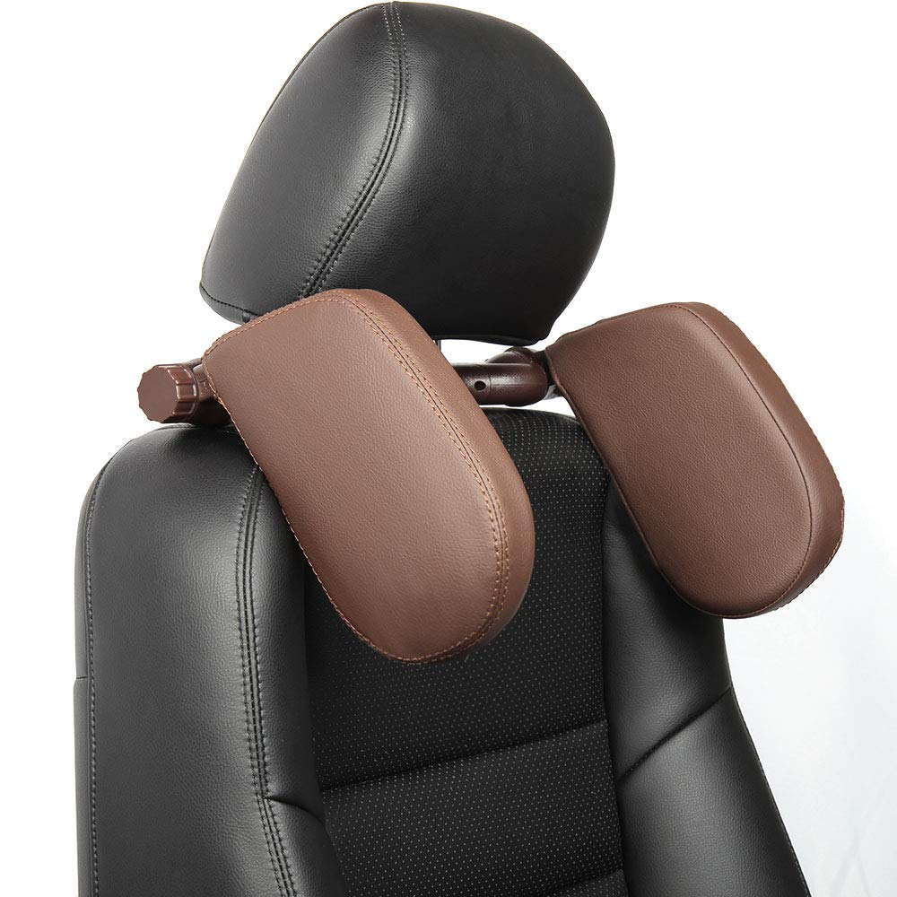 omotor Car Seat Pillow Headrest Neck Support Travel Sleeping Cushion for Kids Adults Brown