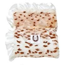 Max Daniel Child Snow Leopard Blanket - Double Sided - Satin Ruffle 1186