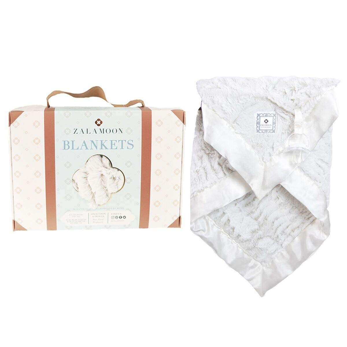 ZALA MOON Zalamoon Luxie Pocket Plush Baby Toddler Blanket with Hook-and-Loop Fastener Strap (Flake)