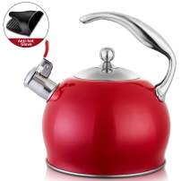 Tea Kettle Best 3 Quart induction Modern Stainless Steel Surgical Whistling Teapot -Tea Pot For Stove Top (3L,Red)