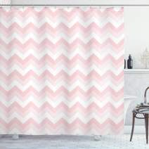 """Ambesonne Chevron Shower Curtain, Zigzag Chevron Grunge Pattern in Soft Colors Simplicity Design, Cloth Fabric Bathroom Decor Set with Hooks, 84"""" Long Extra, White Pink"""