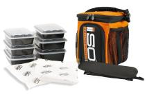 Meal Prep Bag ISOCUBE 3 Meal Insulated Lunch Bag Cooler with 6 Stackable Meal Prep Containers, 2 ISOBRICKS, and 1 Shoulder Strap - MADE IN USA (Tangerine)