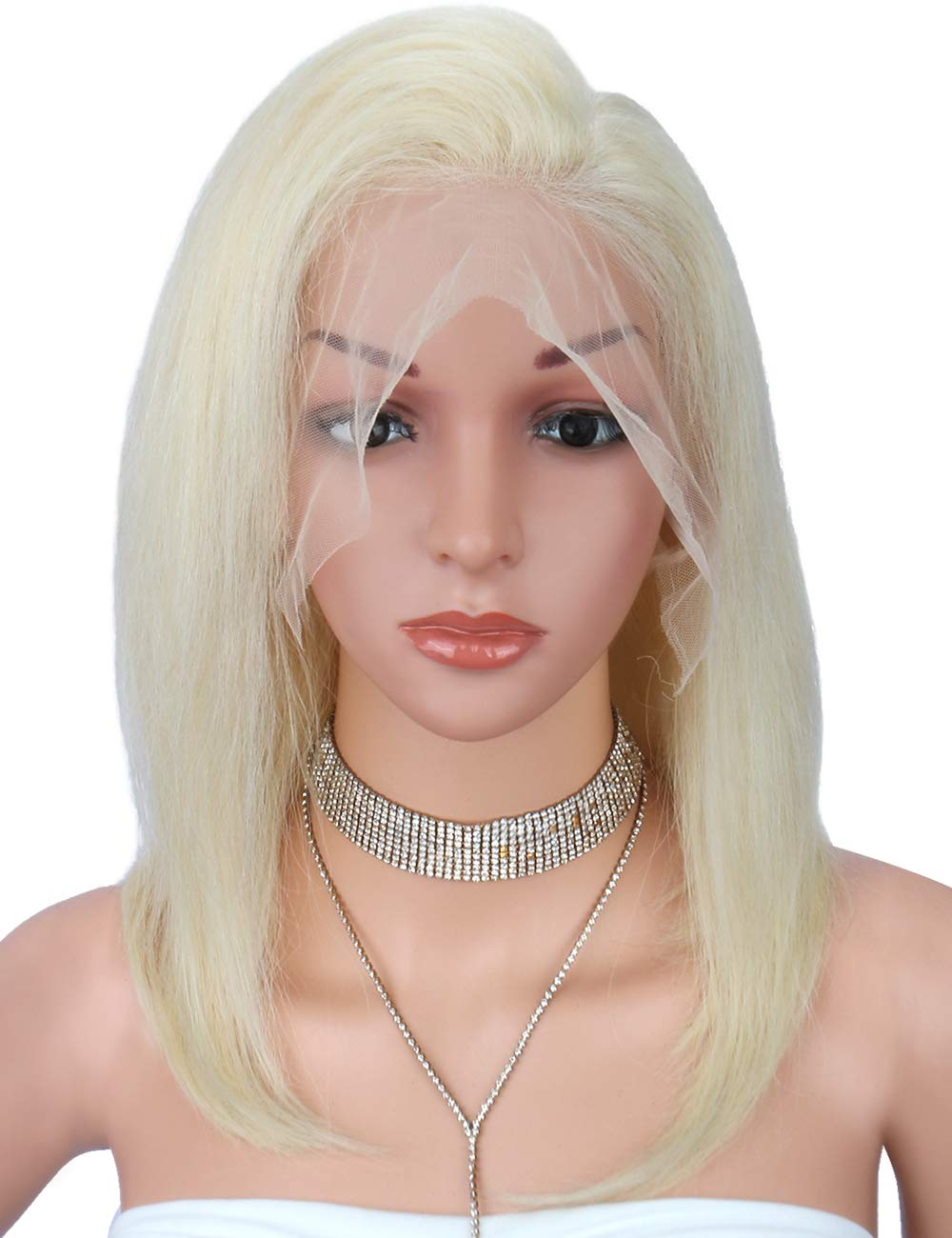 Beauart #613 Blonde Full Lace Human Hair Wigs with Baby Hair and Pre Plucked Hairline for White Women 100% Brazilian Remy Human Hair Wigs, 14 Inches