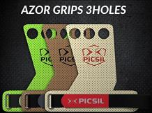 PICSIL, AZOR 3 Holes Brown, Hand Grips for Men, Hand Grips for Women, Pullup Grips. A Special Fabric Patented, Crossfit Gloves, Crossfit Grips, Gymnastic Grips, Palm Grips.(XL)