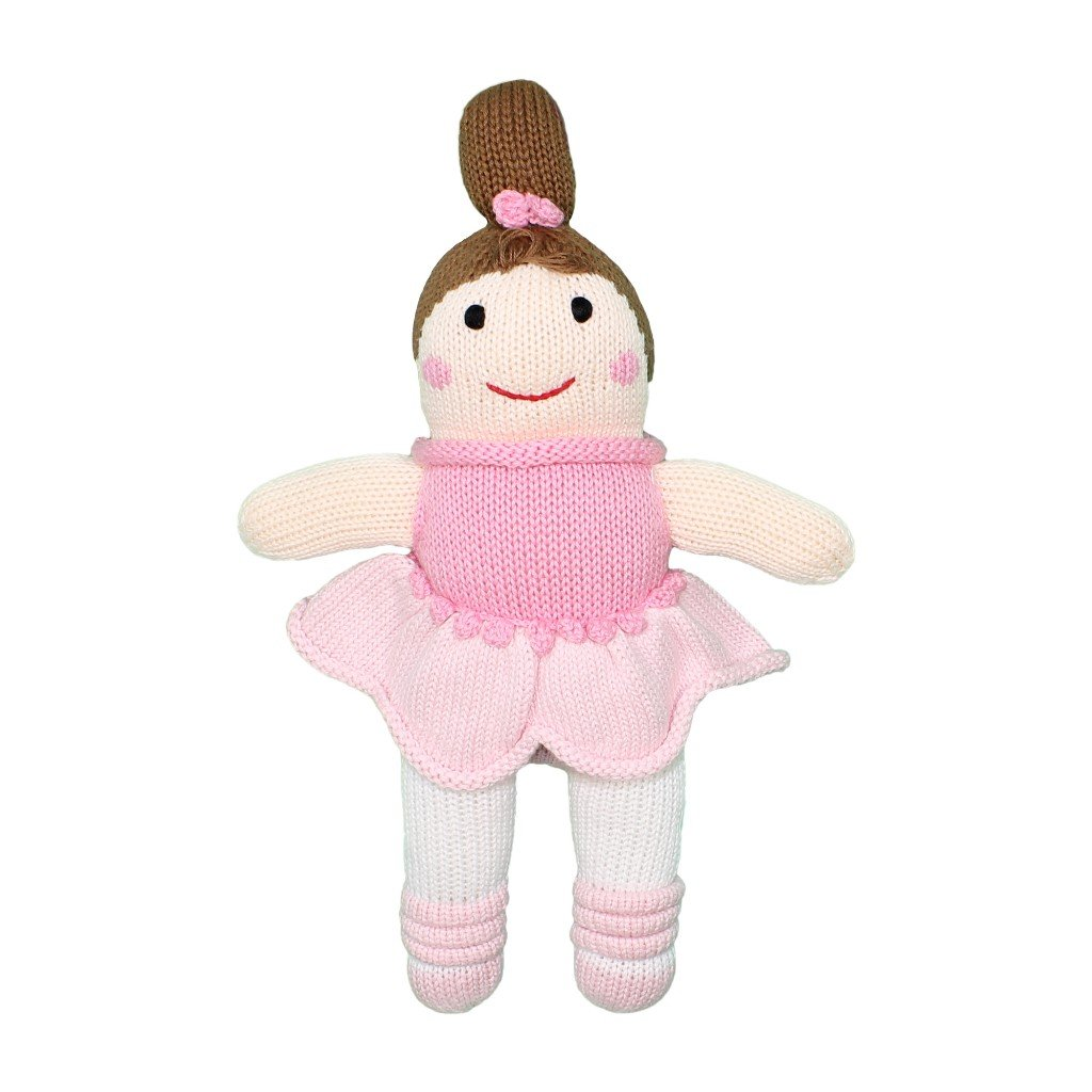 Zubels Baby Girls' Hand-Knit Bella The Ballerina Toy, All-Natural Fibers, Eco-Friendly, 7-Inch Rattle