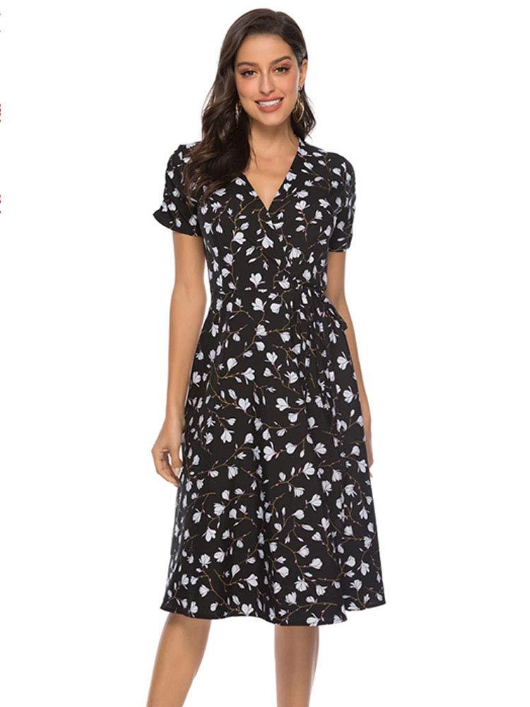 Sobrisah Women's Casual Wrap V Neck Short Sleeve Tie Waist Floral Print Flowy Chiffon Midi Dress