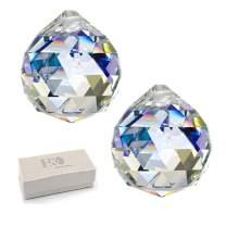"H&D Glass Crystal Prism Ball Pendant Suncatcher Rainbow Maker Hanging Crystal Ball Prism Pendants for Windows,2""/50mm, Pack of 2"