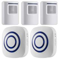 WJLING Motion Sensor Alarm, Wireless Driveway Alarm, Home Security Business Detect Alert with 3 Sensor and 2 Receiver,38 Chime Tunes - LED Indicators