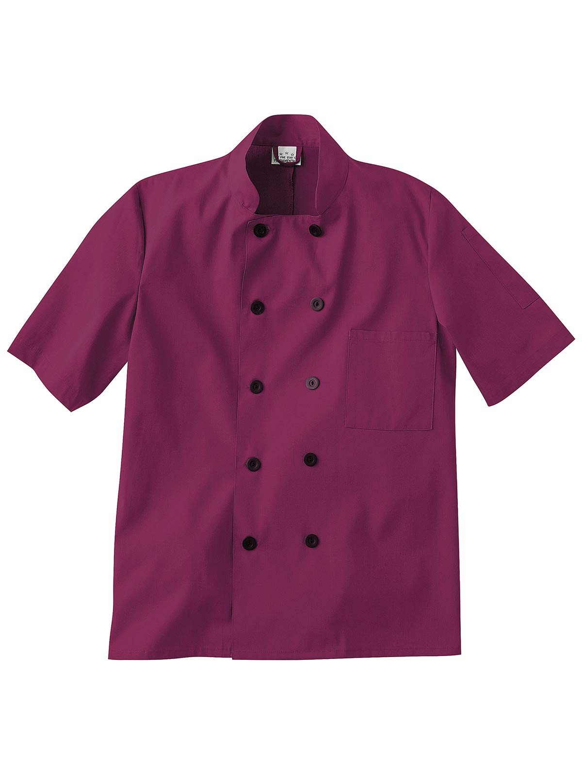 Five Star 18001/18025 Unisex Short Sleeve Chef Coat Wine 5XL