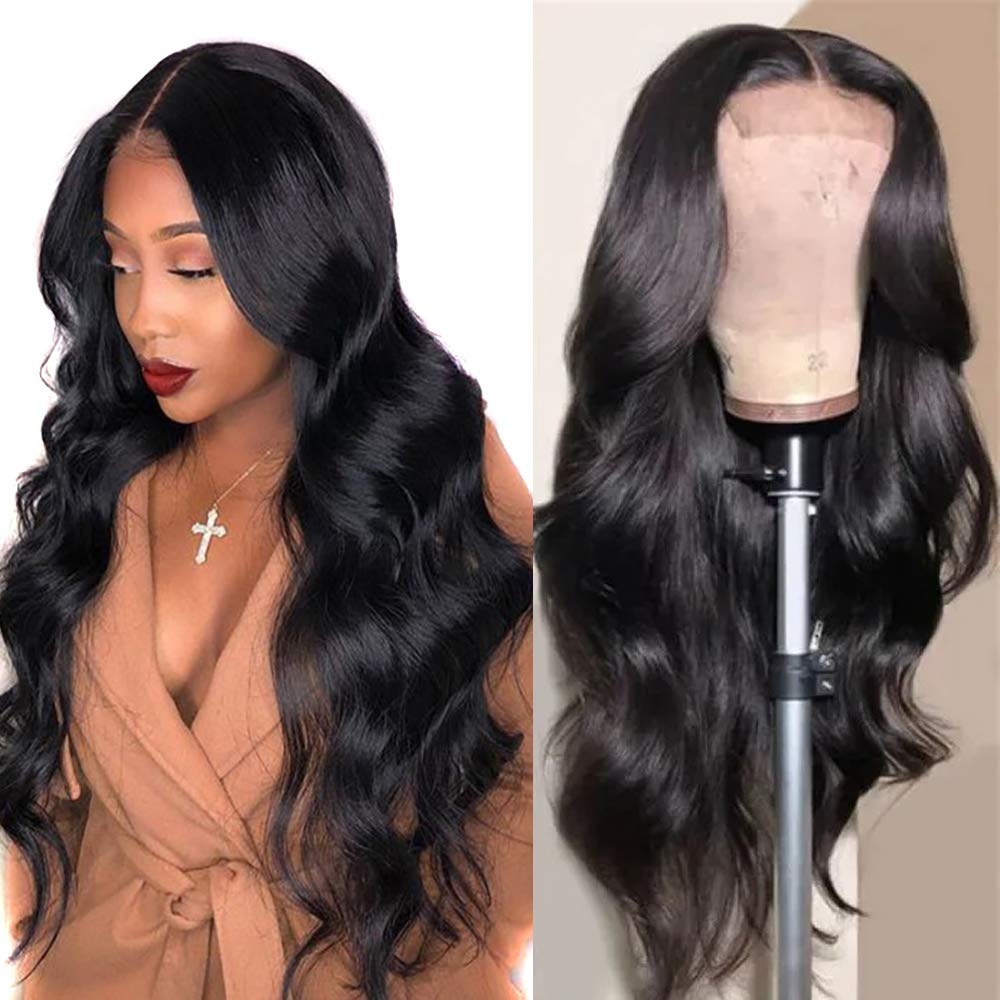 Lace Front Wigs Human Hair 22 inch Brazilian Hair Body Wave 4x4 Lace Closure Wigs Brazilian Body Wave Lace Front Wigs with Baby Hair Natural Black (4x4 lace closure wig body wave,22 inch)