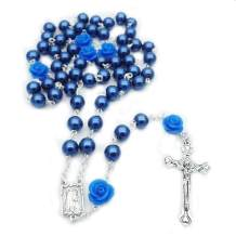 SZQCZB Pearl Beads Rosary Catholic Necklace Holy Soil Medal Cross Crucifix