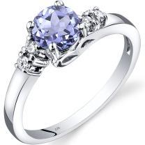 14K White Gold Tanzanite Diamond 5 Stone Ring Sizes 0.75 Carats Sizes 5-9