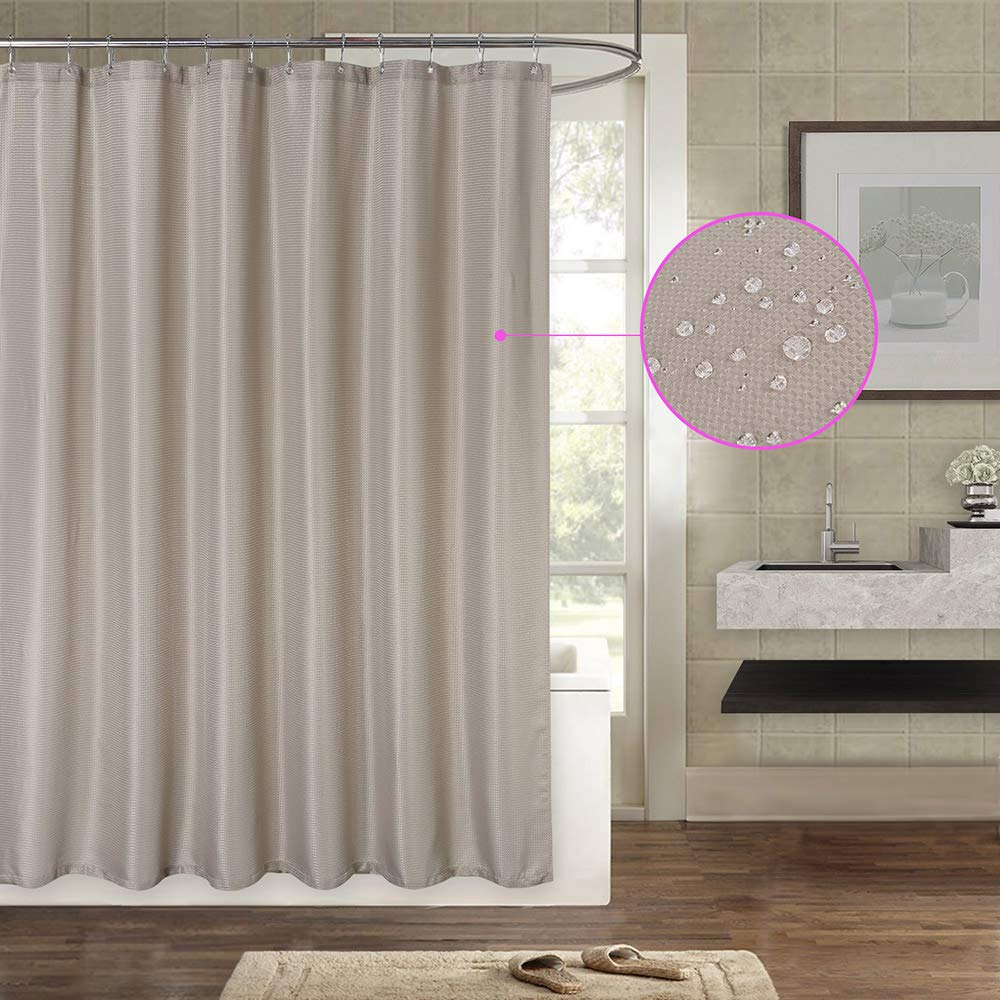 IDEALHOUSE Waffle Fabric Shower Curtain - Hotel Grade, Water Repellent, Washable - 72''x 72'',2 Packs