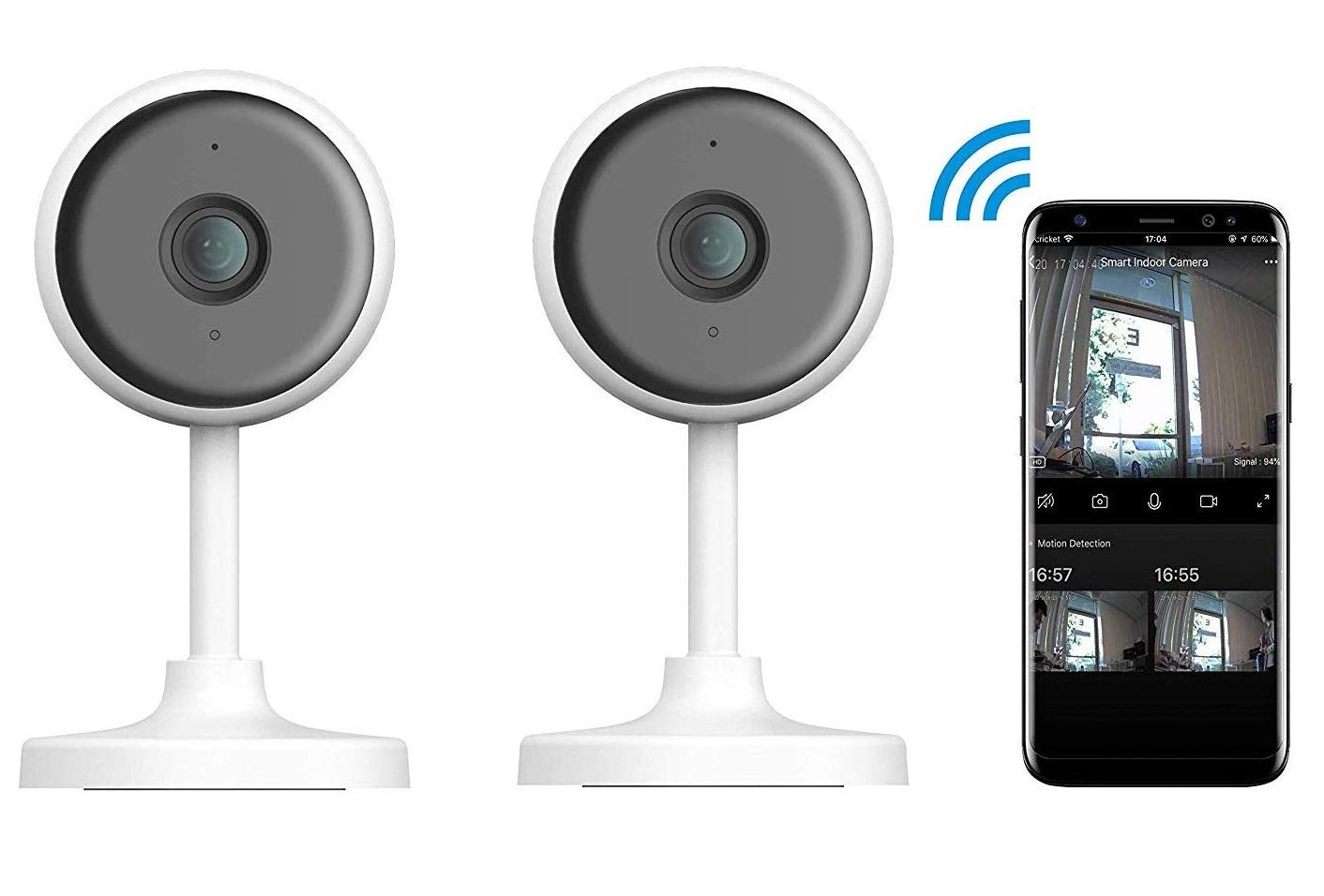 eco4life 1080p Indoor 2.4G WiFi Smart IP Camera with Night Vision, 2 Way Audio, 24/7 Motion Detection and Notification. (2-Pack)