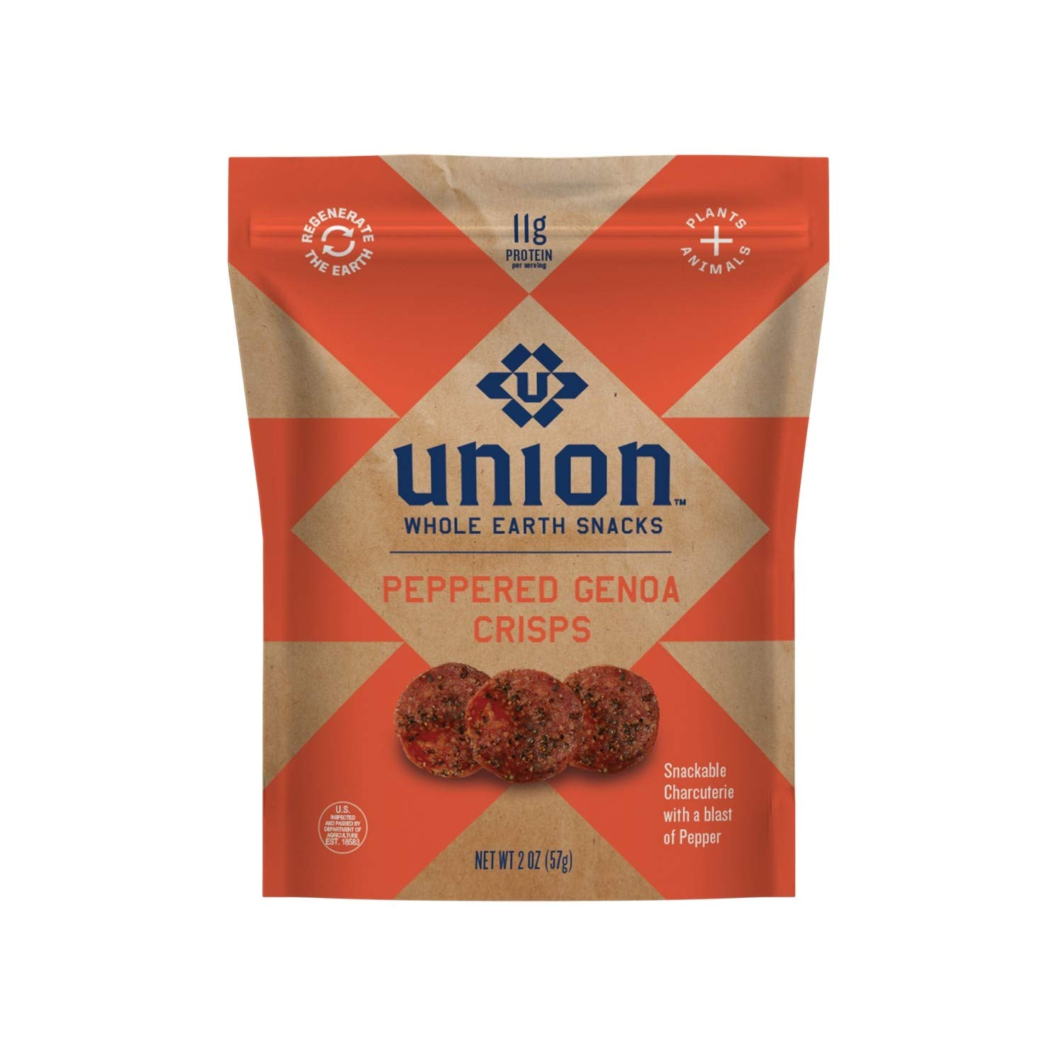 UNION Peppered Genoa Salami Charcuterie Crisps - Whole Earth Snacks - Healthy Food, Keto Snacks, High Protein & Gluten Free - Paleo and Keto Diet Friendly - Pack of Two
