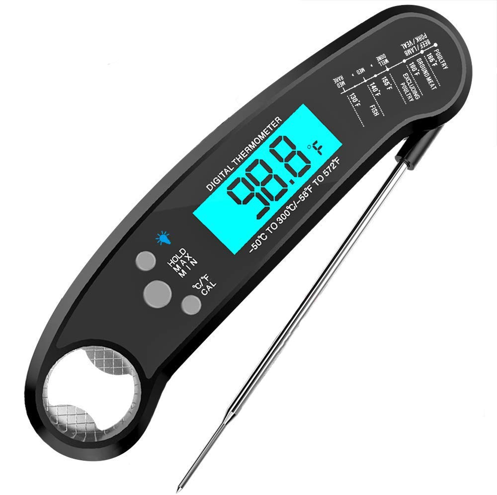 Instant Read Meat Thermometer, Waterproof Ultra Fast Cooking Thermometer with Bottle Opener Backlight and Calibration, Digital Food Thermometer for Kitchen, Outdoor Cooking, BBQ and Grill