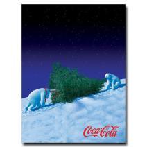 Polar Bears with Christmas Tree 18x24-Inch Canvas Wall Art