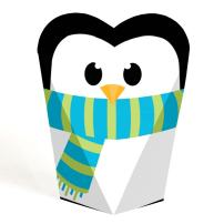 Big Dot of Happiness Holly Jolly Penguin - Holiday and Christmas Party Favors - Gift Heart Shaped Favor Boxes for Women and Kids - Set of 12