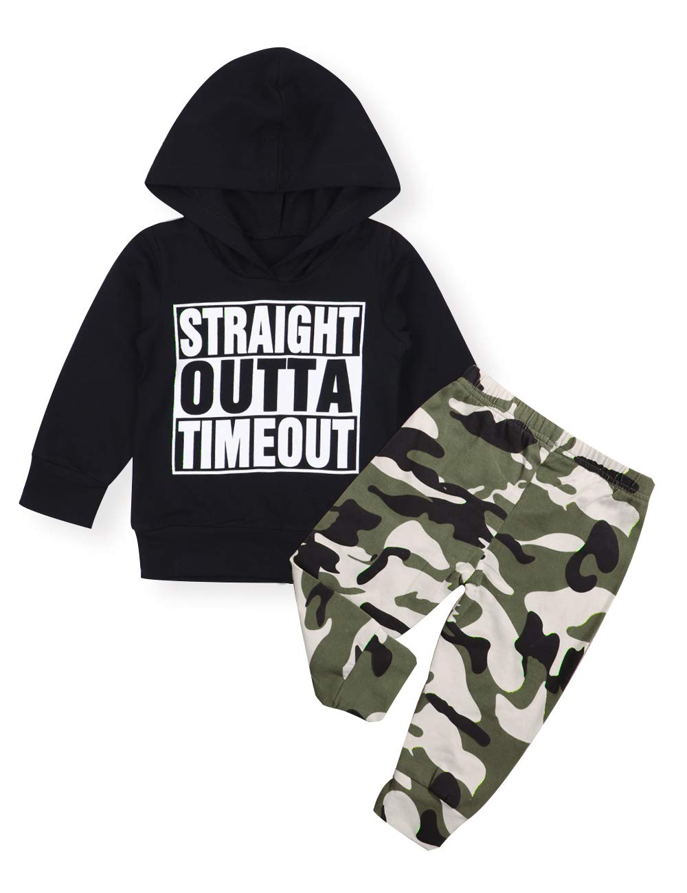 Toddler Infant Baby Boy Clothes Letter Print Long Sleeve Hoodie Sweatshirt Camouflage Pants Winter Outfit Set