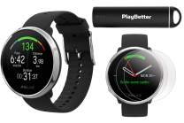 Polar Ignite Fitness GPS Watch Power Bundle (Black-Silver, Small) | with PlayBetter HD Screen Protectors & Portable Charger | Polar Precision Heart Rate, Integrated GPS & Sleep Plus Tracking