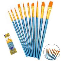 Paint Brushes Set, 10pcs Paintbrushes Flat/Shader Tip for Watercolor, Oil, Acrylic Painting and Craft, Nail, Face Paint (Blue Brush)