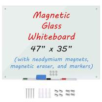 "Magnetic Dry Erase Board, Glass Whiteboard, 4 x 3 Feet (47"" x 35""), Glassboard, White, Clear Surface, Frameless Display, Modern, Wall Mount, 4 Markers, Marker Tray, 1 Eraser, 6 Magnets, for Office"