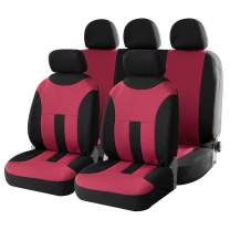 uxcell Universal Front Back Seat Cover Cushion Mat Protector for Car SUV Truck Black Red Polyester Mesh 9pcs