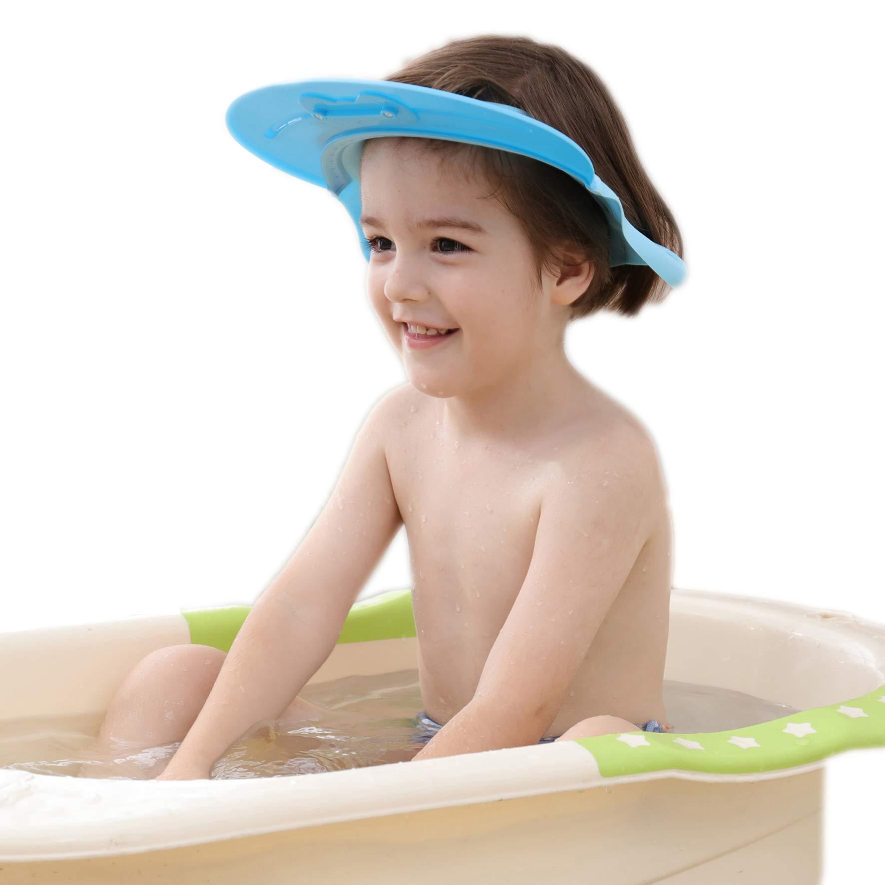 Baby Shampoo Shower Cap Bath wash Visor Adjustable Bathing tub Head Hair Rinser Shield hat Protection Kids and Toddler (Blue)