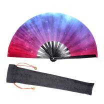 Lysa Large Rave Folding Fan for Men/Women-Chinese/Japanese Bamboo and Nylon-Cloth Folding Hand Fan for Electronic Dance Music Festival Party,Dancing,Decorations, Gift (Galaxy Nebula-01)