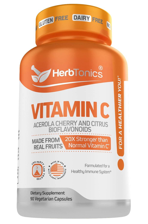 20X Potent Vitamin C with Organic Acerola Cherry and Citrus Bioflavonoids - Whole Food Vegan Vitamin C Supplement Immune Support - Not Synthetic Ascorbic Acid 500 mg 90 Capsules
