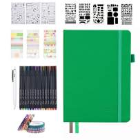 Dotted Journal Set, 224 Numbered Pages Faux Leather A5 Grid Hard Cover Green Notebook Planner with Index Inner Pocket, Abundant Accessories for Beginners Planner Schedule by Feela