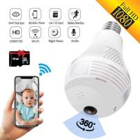 Light Bulb Camera,Dome Surveillance Camera 1080P 2.4GHz WiFi 360 Degree Wireless Security IP Panoramic,with IR Motion Detection, Night Vision, Alarm, for Home, Office, Baby, Pet Monitor