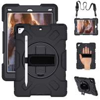 SUPFIVES iPad 9.7 2018 2017 Case, iPad 6th Generation Case Cover Handle Rugged Protective Case with 360 Stand+Handle Hand Strap+ Shoulder Strap+Pencil Holder, Model A1893/A1954/A1822/A1823 (Black)