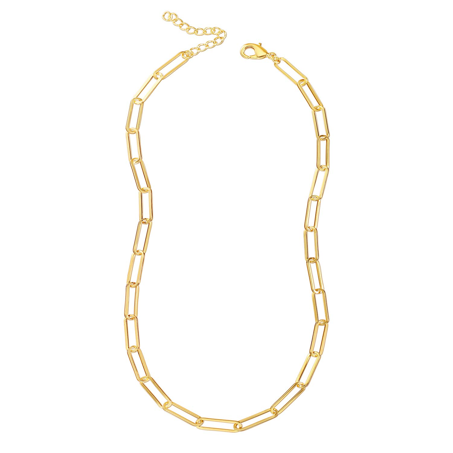 Reoxvo 18K Real Gold Plated Link Chain Necklace Bracelets for Women Oval Rectangle Chain Link Choker Ideal Gifts