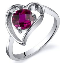 Created Ruby Heart Ring Sterling Silver Rhodium Nickel Finish 1.00 Carats Sizes 5 to 9