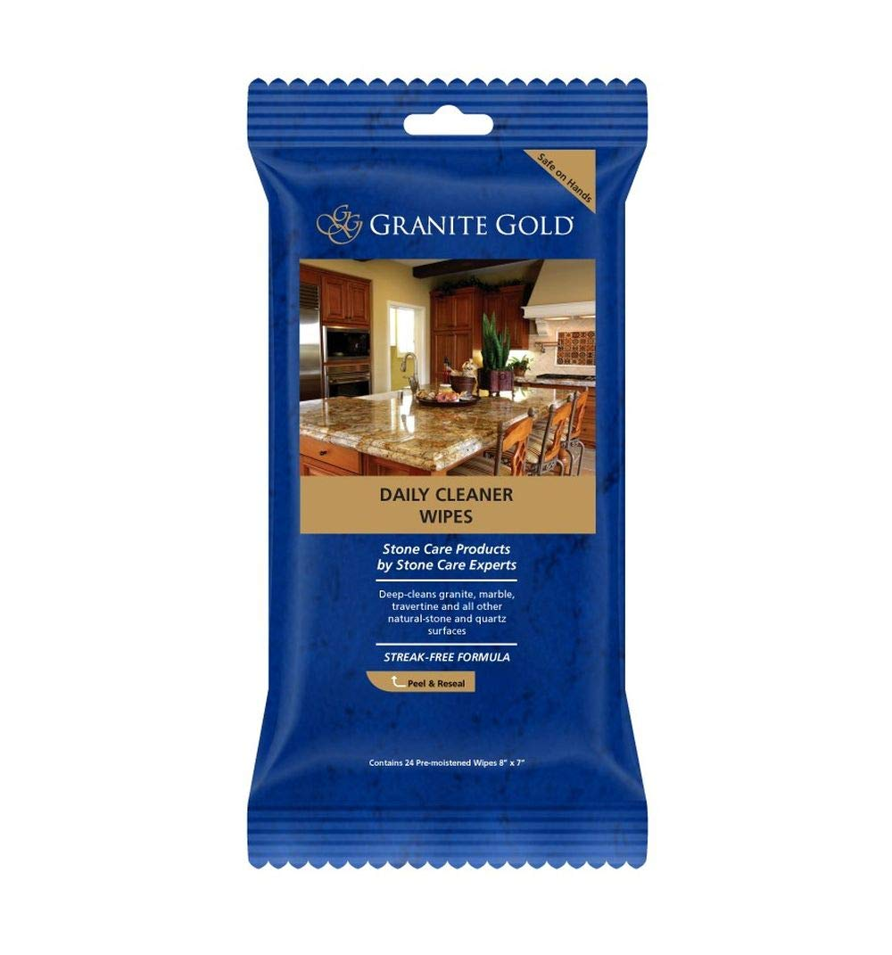 Granite Gold Streak Free Cleaning For Granite Marble Travertine Quartz Natural Stone Countertops Floors Made In The Usa Gg0057 Daily Cleaner Wipes 24 Count