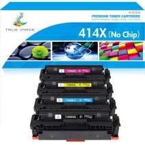 True Image Compatible Toner Cartridge Replacement for HP 414X W2020X 414A W2020A Laserjet Pro MFP M479fdw M479fdn M454dw M454dn M454 M479 Printer Ink No Chip (Black Cyan Yellow Magenta, 4-Pack)