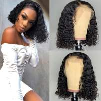 """13x6 Lace Front Wigs Human Hair Bob 150% Density Brazilian Deep Curly Wave Lace Front Wigs Pre Plucked With Baby Hair,Wet And Wavy Glueless Lace Front Human Hair Wigs With Elastic Band For Women(12"""")"""