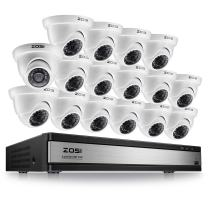ZOSI 720p 16 Channel HD Security Camera System,16 Channel Surveillance DVR Recorder with 16 x 1280TVL(720p) Weatherproof Indoor/Outdoor CCTV Dome Camera System,No Hard Drive