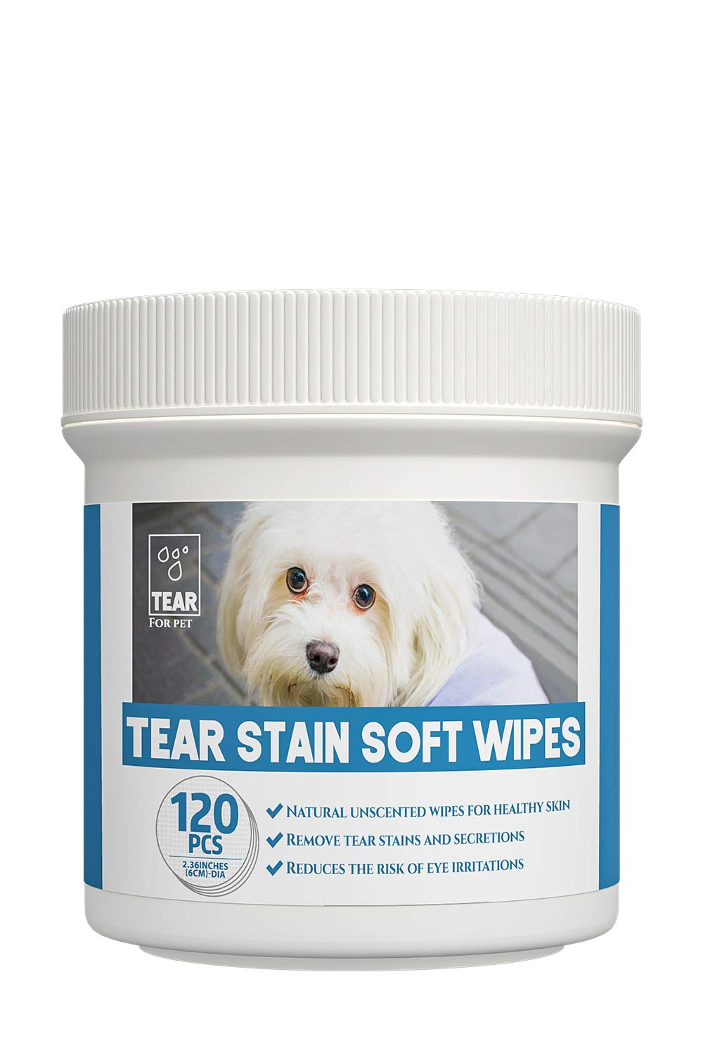 PUPMATE Tear Stain Remover Wipes for Dogs & Cats, Extra Moist and Natural Wrinkle Wipes for Pets, Eye Crust Treatment for White Fur, 120 Presoaked Cotton Pads, Unscented Eye Wipes