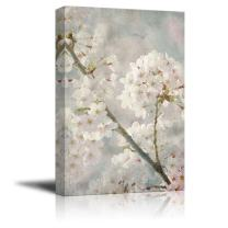 wall26 Canvas Wall Art - Oil Painting Style White Cherry Blossom in Spring - Giclee Print Gallery Wrap Modern Home Decor Ready to Hang - 12x18 inches