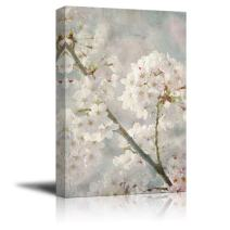 wall26 Canvas Wall Art - Oil Painting Style White Cherry Blossom in Spring - Giclee Print Gallery Wrap Modern Home Decor Ready to Hang - 24x36 inches