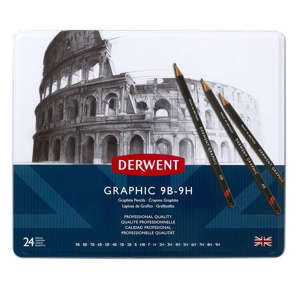 Derwent Graphic Pencils, Metal Tin, 24 Count (34202)